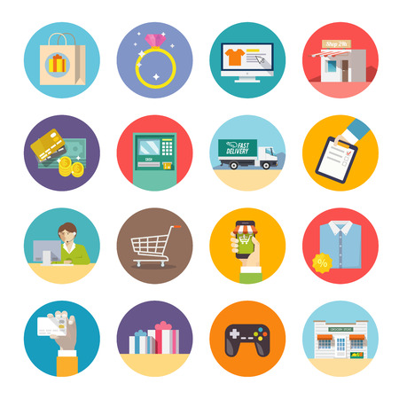 Illustration for Modern flat icons set. Shopping. Online Shopping. Delivery. - Royalty Free Image