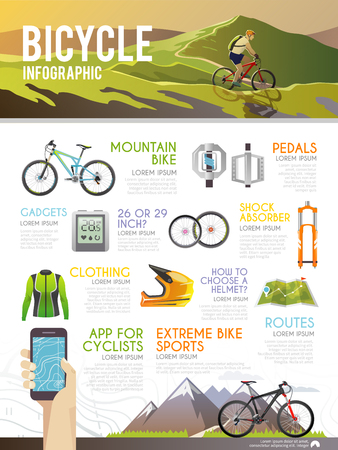 Illustration pour Colourful bicycle vector infographic. The concept of infographic for your business, web sites, presentations, advertising etc. Quality design illustrations, elements and concept. Flat style. - image libre de droit