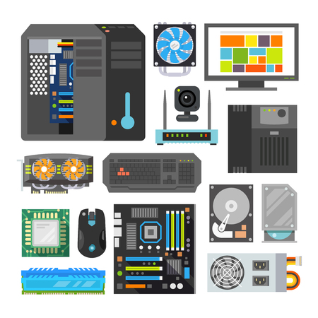 Ilustración de Modern flat icons set. PC components. Computer store. Assembling a Desktop Computer. - Imagen libre de derechos