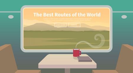 Flat vector web banner on the theme of travel by train, high speed train, vacation, mountain landscape, railway, adventure. Sunset sky. The bridge, mountain railway. Stylish modern flat design.