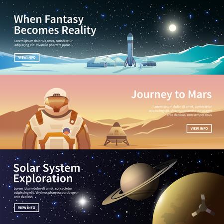Illustration pour Fat vector web banners on the theme of astronomy, space exploration, colonization of space. Solar System exploration. The first colonies. Modern flat design. - image libre de droit