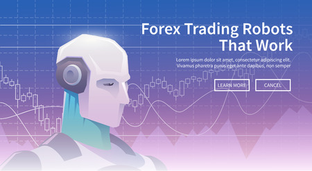 Multicolor stock exchange trading robot banner. Forex market. Forex trading. Technologies in business and trading. Artificial intelligence. Equity market. Business management. Modern flat design