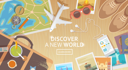 Ilustración de Flat vector web banner on the theme of travel , vacation, adventure. Preparing for your journey. Outfit of modern traveler. Objects on wooden background. Top view. Discover a new world. - Imagen libre de derechos
