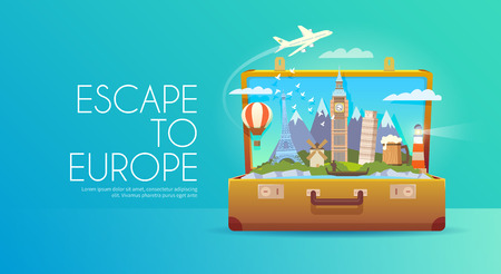 Illustration for Trip to Europe. - Royalty Free Image