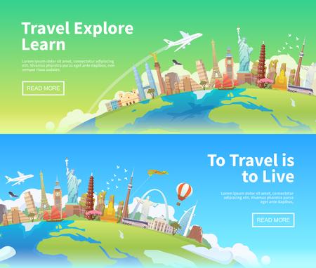 Illustration for Travel to World. Road trip. Tourism. Landmarks on the globe. Horizontal web banners. Modern flat design. - Royalty Free Image