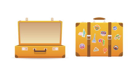 Ilustración de Open and close old suitcase on white isolated background. Luggage of the traveler. Flat vector illustration. - Imagen libre de derechos