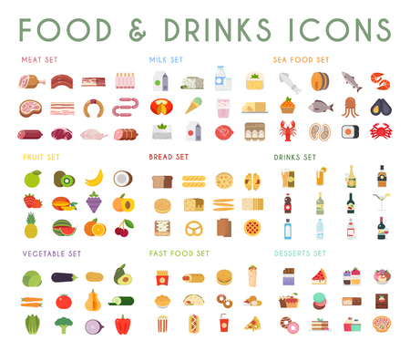 Illustration for Food and drink flat vector icons set. Meat, milk, bread, seafood, fruits, vegetables, alcohol fast food dessert - Royalty Free Image