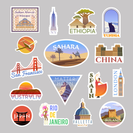 Ilustración de Set of vector travelling stickers colliction. Around the world - Imagen libre de derechos