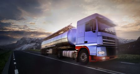 Photo for truck driving at dusk/motion blur - Royalty Free Image