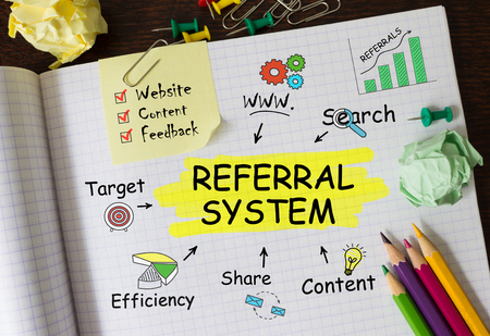 Notebook with Toolls and Notes about Referral System,concept