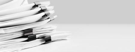 Photo pour Stack of report paper documents for business desk. Business offices concept, soft focus. - image libre de droit