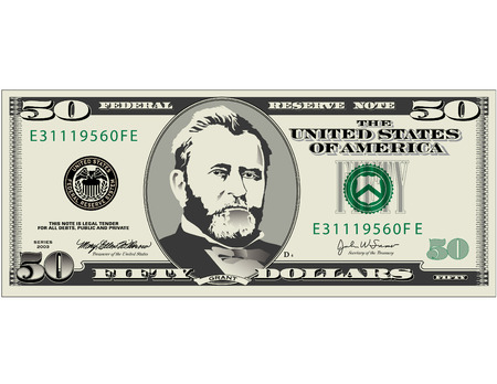 A detailed vector drawing of a fifty dollar bill