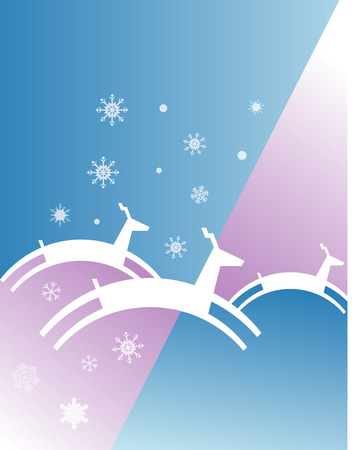 An abstract Christmas illustration of reindeer jumping in a wintry background.