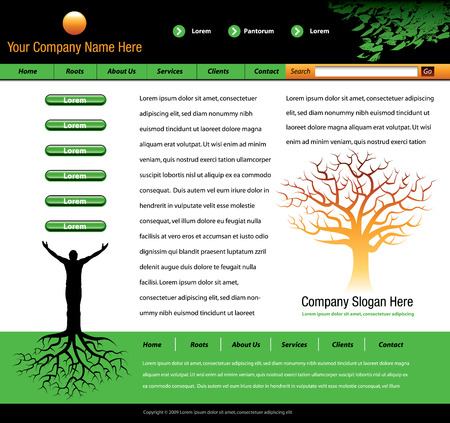 This website vector template has a man with tree roots