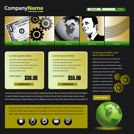 Vector web site design template with dollar, gears, globe & man