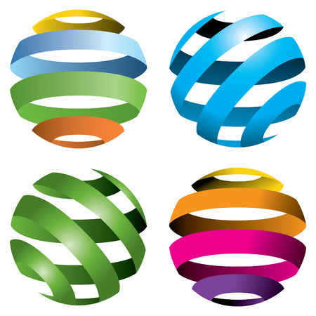 A set of four abstract vector globesのイラスト素材