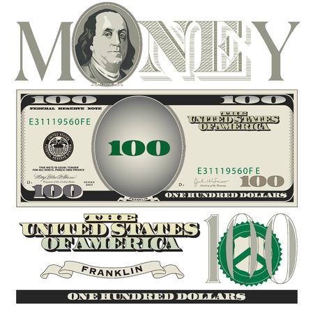 Miscellaneous 100 dollar bill elements
