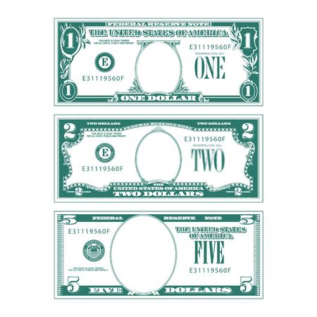 Ilustración de Three simplified stylized bills with no faces - Imagen libre de derechos