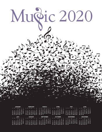 Illustration pour Playful typographic fun in this 2020 music calendar. - image libre de droit