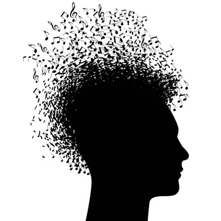 Illustration pour Music man in black and white profile abuzz with musical notes. - image libre de droit