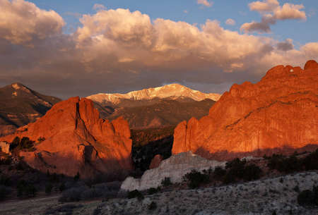 Sunrise on Pikes Peak from Garden of the Gods park in Colorado Springs, Colorado