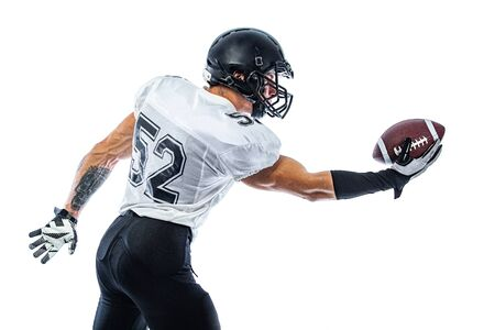 Photo for American Football player on stadium with smoke and lights. - Royalty Free Image
