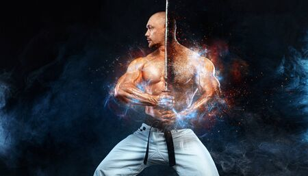 Photo for Karate fighter on black background with smoke. Shirtless man samurai with Japanese sword. Fit man sportsmen bodybuilder physique and athlete. Mens sport motivation. - Royalty Free Image