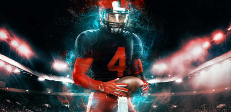 Photo for American football player, athlete sportsman in red helmet on stadium background. Sport and motivation wallpaper. - Royalty Free Image