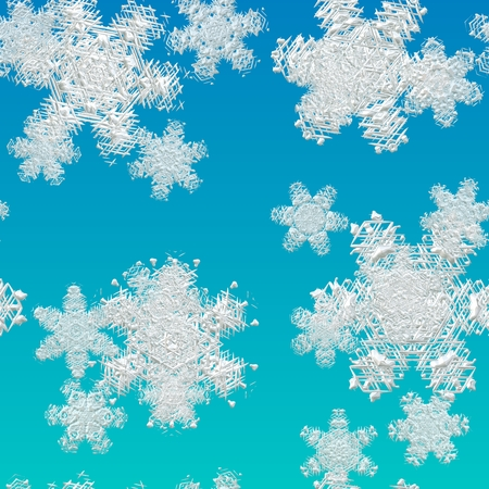 Large snowflake texture, seamless pattern on blue background