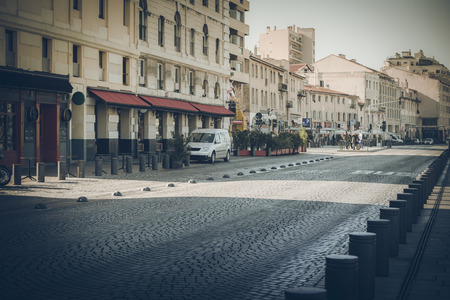 Paved street and road in Marseille Vieux Port