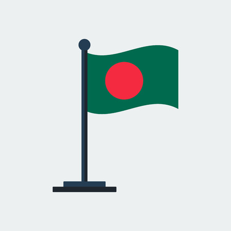 Flag Of Bangladesh. Flag Stand On White Background. Vector Design