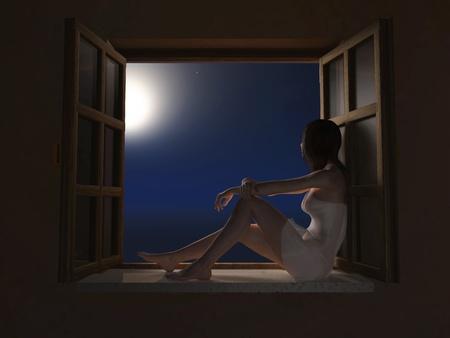 woman sitting on windowsill at moon night