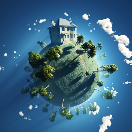 Photo for private house on small planet - Royalty Free Image
