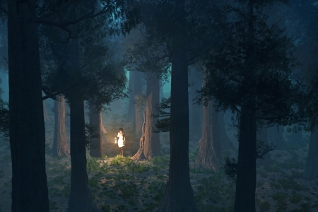 lost woman in the deep forest