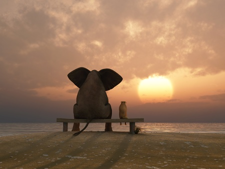 Photo pour elephant and dog sit on a summer beach - image libre de droit
