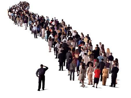 Foto für group of people waiting in line, back view - Lizenzfreies Bild