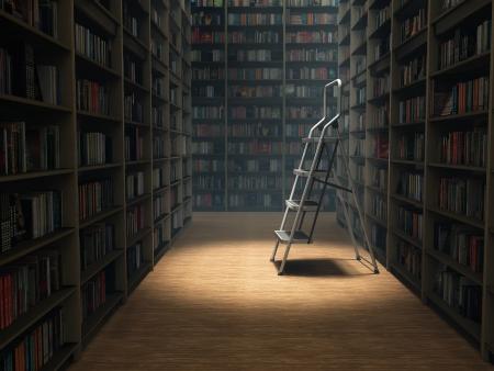 books in dark library