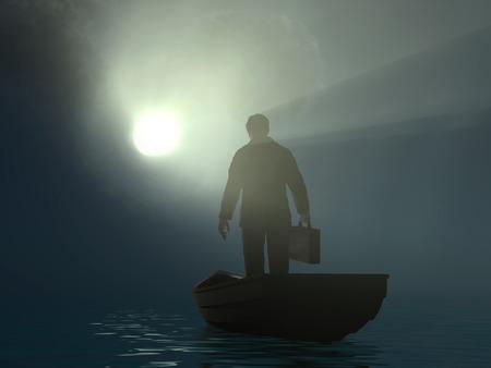 Photo pour businessman drifting to the light - image libre de droit