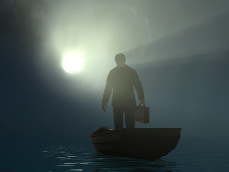 Foto de businessman drifting to the light - Imagen libre de derechos