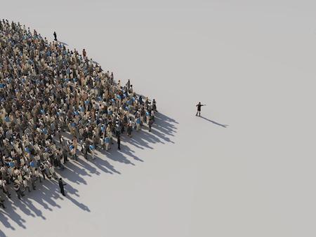 Photo pour woman shows the direction of the crowd - image libre de droit