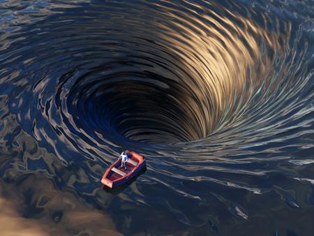 Photo pour boat drifting into a water funnel - image libre de droit