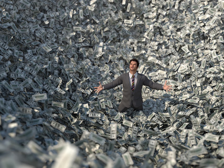 businessman in a money avalanche
