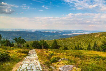 Photo pour Green Meadow In Mountain with blue sky view - image libre de droit