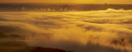 spectacular mist river over the river valley during the sunrise - Odra river, Germany around the town of Gartz