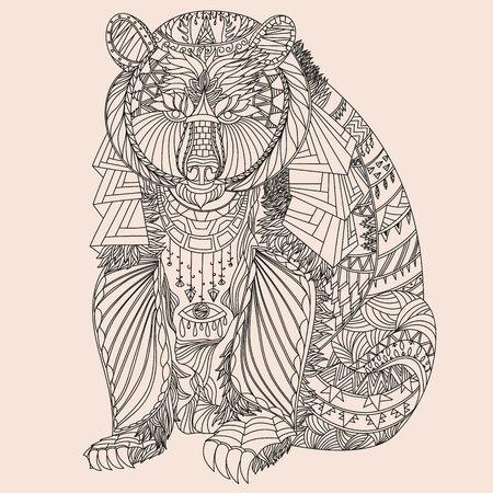Illustration pour Patterned bear  - image libre de droit