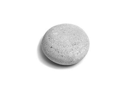 Photo pour Pebble. Smooth gray sea stone isolated on white background - image libre de droit