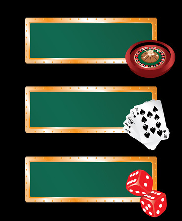 Three casino banners - with roulette, cards and bones