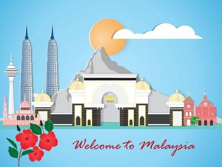 Illustration pour Malaysia travel and most famous landmarks, paper art style. - image libre de droit