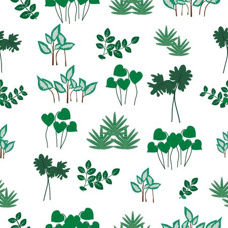 Vector seamless pattern with different leaves.