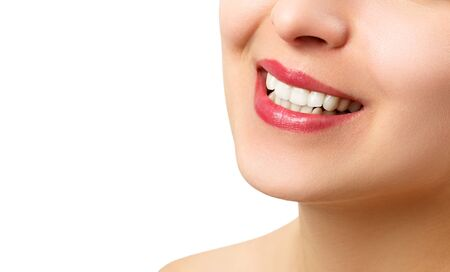 Photo for the smile of a young woman with perfect white teeth. close-up isolated on white background. place for copy space - Royalty Free Image